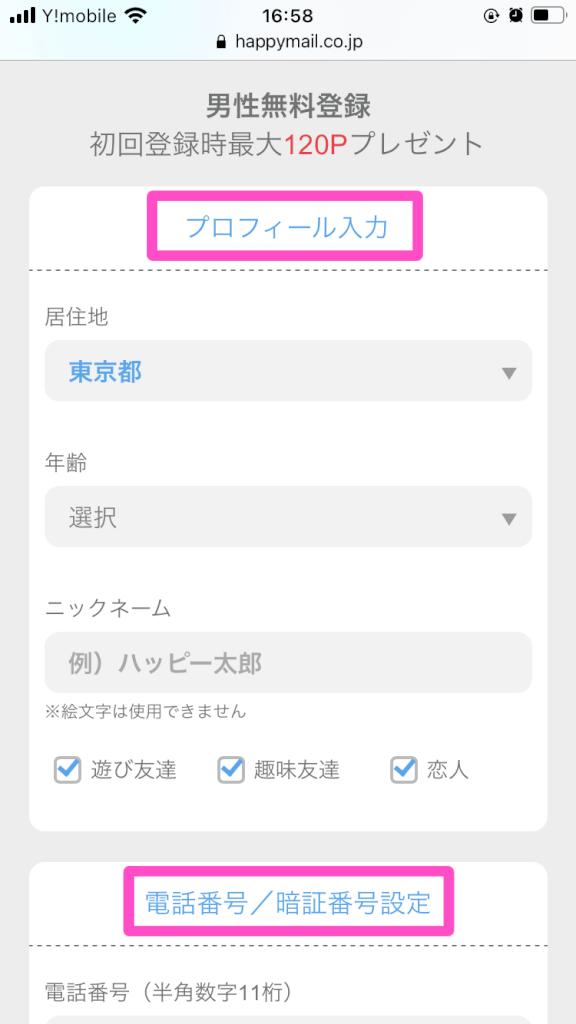 ハッピーメールWEB版登録手順2