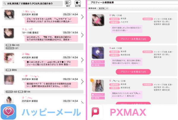 ハッピーメールとPCMAXの会員の年代比較